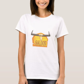 Saloon Sign With Dead Head Drawing Isolated On Whi T-Shirt