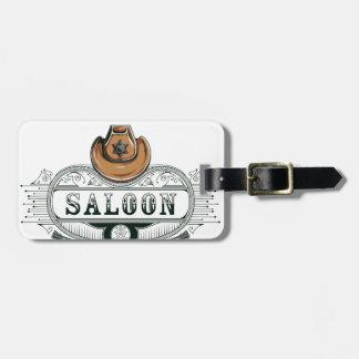 saloon vintage cowboy guns luggage tag