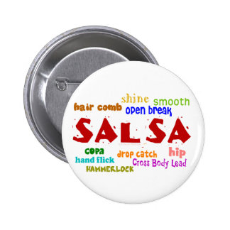 Salsa Dancing Lovers Dance Moves and Terms 6 Cm Round Badge