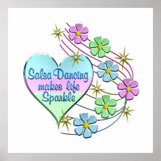 Salsa Dancing Sparkles Poster