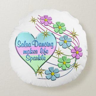 Salsa Dancing Sparkles Round Cushion