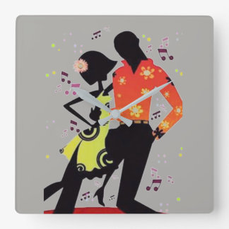 SALSA DANCING Square Wall Clock