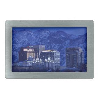 Salt Lake City Downtown Winter Skyline Rectangular Belt Buckles