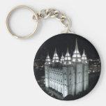 Salt Lake City LDS Temple at night. Basic Round Button Key Ring