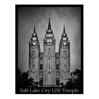 Salt Lake City LDS Temple - Black & White Postcard