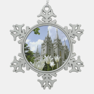 Salt Lake City, LDS Temple Snowflake Pewter Christmas Ornament