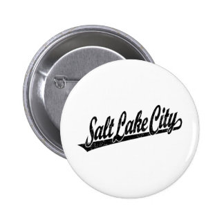 Salt Lake City script logo in black distressed 6 Cm Round Badge