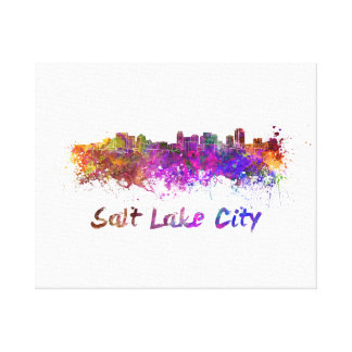 Salt Lake City skyline in watercolor Canvas Print