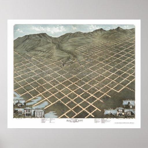 Salt Lake City, UT Panoramic Map - 1870 Posters