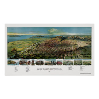 Salt Lake City, UT Panoramic Map - 1891 Poster