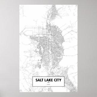 Salt Lake City, Utah (black on white) Poster