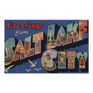 Salt Lake City, Utah - Large Letter Scenes 2 Poster