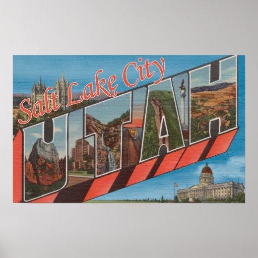 Salt Lake City, Utah - Large Letter Scenes Poster