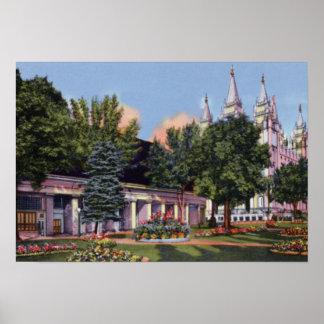 Salt Lake City Utah Mormon Tabernacle and Temple Poster
