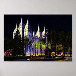 Salt Lake City Utah Mormon Temple at Night Poster