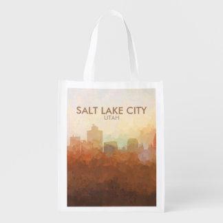 Salt Lake City, Utah Skyline IN CLOUDS Reusable Grocery Bag