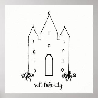 salt lake city utah temple simple modern poster