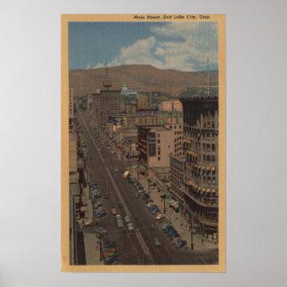 Salt Lake City, Utah - View of Main St. Poster