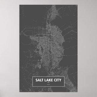 Salt Lake City, Utah (white on black) Poster