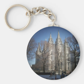 Salt Lake Temple Basic Round Button Key Ring