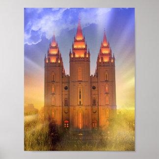 Salt Lake temple with sunbeams poster