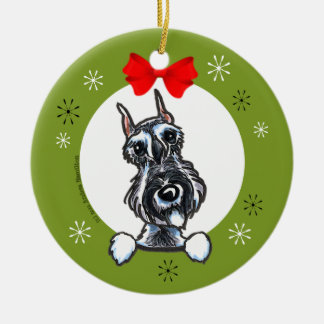 Salt Pepper Schnauzer Christmas Classic Ceramic Ornament