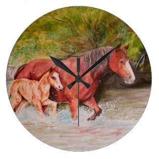 Salt River Wild Horses Large Clock