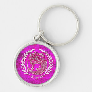 Salt water soothes the soul surf art on pink base. Silver-Colored round key ring