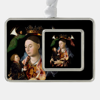 Salting Madonna and Christ Child Silver Plated Framed Ornament