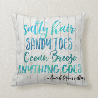 Salty Hair Sandy Toes Ocean Beach Quote Pillow