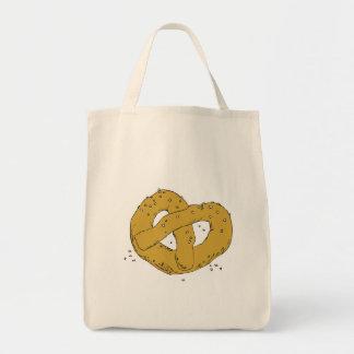 salty hot soft pretzel grocery tote bag