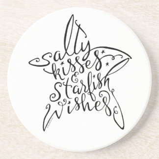 Salty Kisses and Starfish Wishes Hand Lettering Coaster