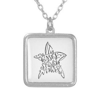 Salty Kisses and Starfish Wishes Hand Lettering Silver Plated Necklace