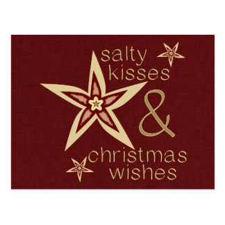 Salty Kisses Christmas Wishes Post Cards