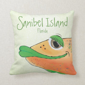 Salty Sam Adorable Fish Art Sanibel Island FL Cushion
