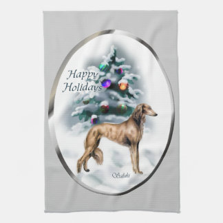 Saluki Christmas Tea Towel