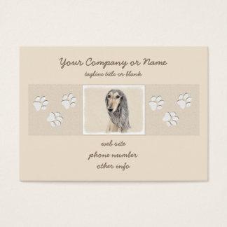Saluki (Fawn) Painting - Cute Original Dog Art Business Card