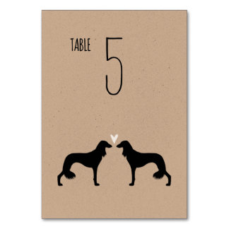 Saluki Silhouettes Wedding Table Card