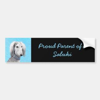 Saluki (Silver) Painting - Cute Original Dog Art Bumper Sticker