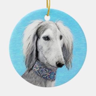 Saluki (Silver) Painting - Cute Original Dog Art Ceramic Ornament