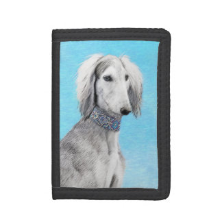 Saluki (Silver) Painting - Cute Original Dog Art Trifold Wallet