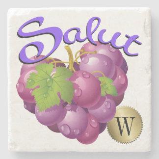 Salut Wine Grapes Monogram Coaster