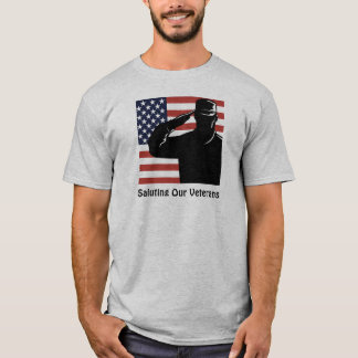 Saluting Our Veterans Soldier & American Flag T-Shirt