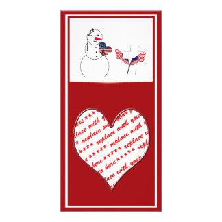 Saluting Snowman for Memorial Day Photo Greeting Card