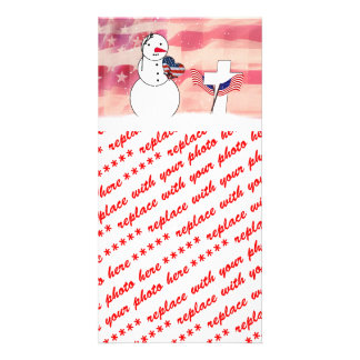 Saluting Snowman for Memorial Day Personalized Photo Card