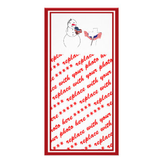 Saluting Snowman for Memorial Day Photo Card Template
