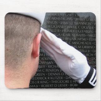 Saluting the Vietnam Memorial Wall Mouse Pad