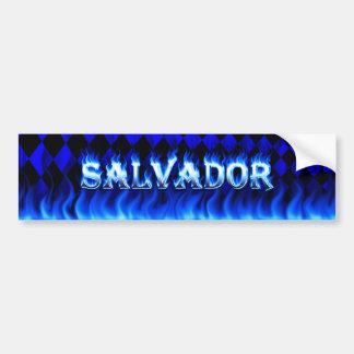 Salvador blue fire and flames bumper sticker desig