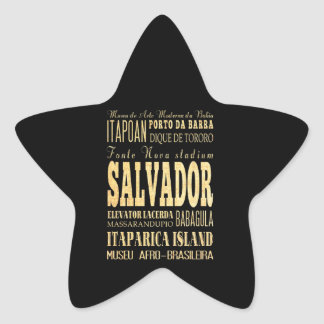 Salvador City of Brazil Typography Art Star Sticker