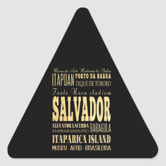 Salvador City of Brazil Typography Art Triangle Sticker